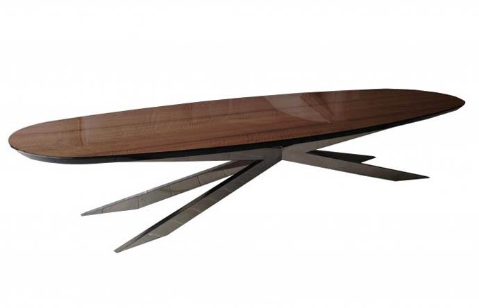 שולחן לסלון אמורפי עם רגל איירון