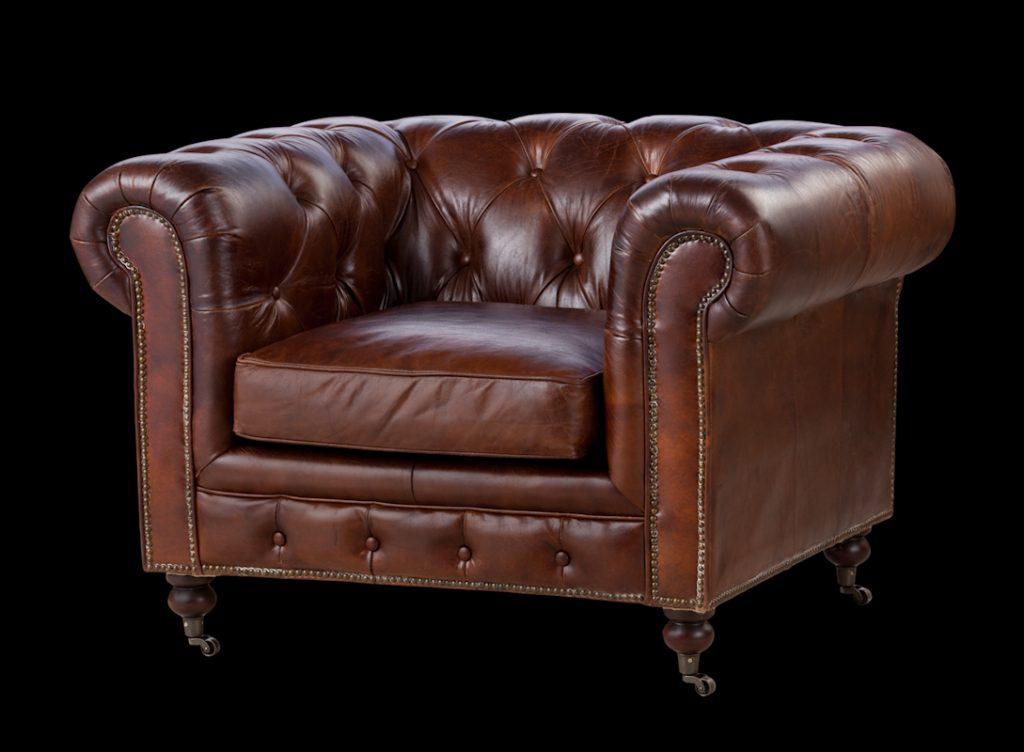 כורסא מעוצבת צ'סטרפילד חום