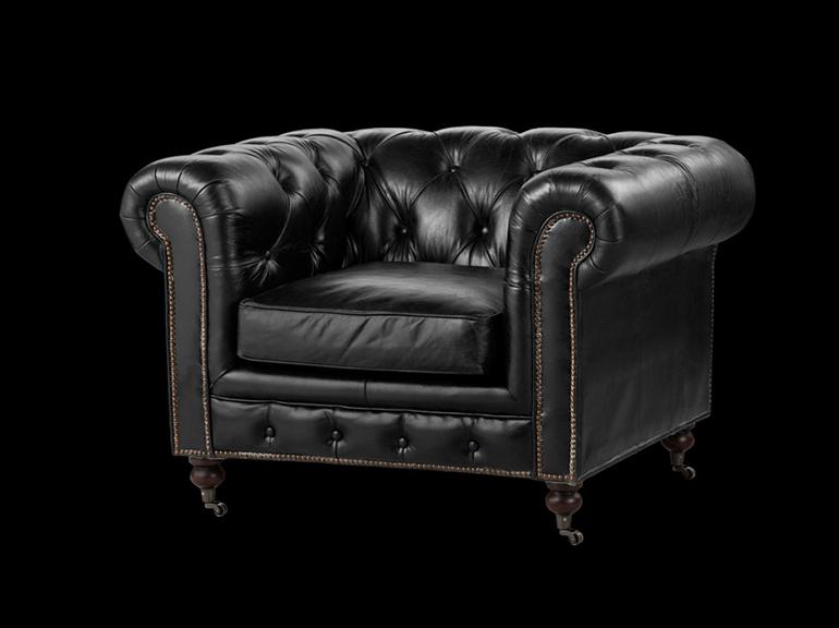 כורסא מעוצבת דגם צ'סטרפילד שחורה